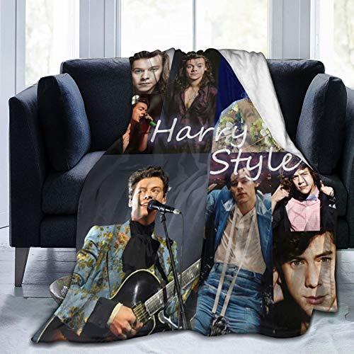 Harry Styles Manta Mantas de lana de franela suave Manta estampada cálida Regalos de cumpleaños para adolescentes Niños Niñas Mujeres Hombres One Direction Blankets 50x40in