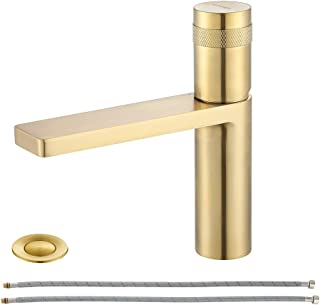 EZANDA Brass Single Handle Bathroom Faucet with Deck Plate, Pop-up Sink Drain Assembly & Faucet Supply Lines, Brushed Gold, 1416408