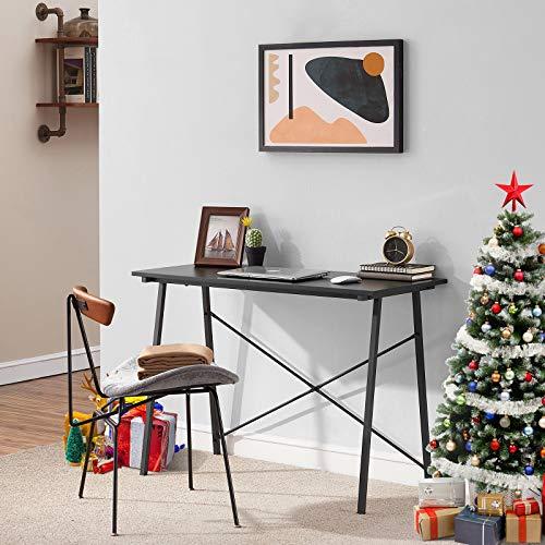 Symylife Schreibtisch Einfacher Computertisch Moderner Schreibtisch Kleiner Schreibtisch mit Metallbeinen, 100 x 48 x 74 cm, schwarzes Leinen