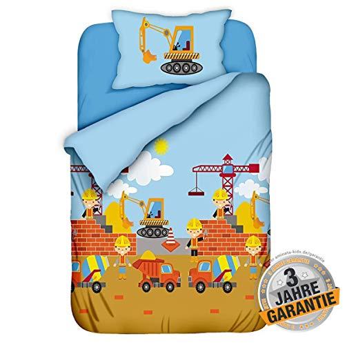 Aminata Kids Bagger-Bettwäsche Kinderbettwäsche 100-x-135 Junge Baumwolle mit Baustelle & Bagger-Motiv Reißverschluss, hell-blau, unsere Kinder-Bettwäsche-Set, für Junge Baumeister mit Autos
