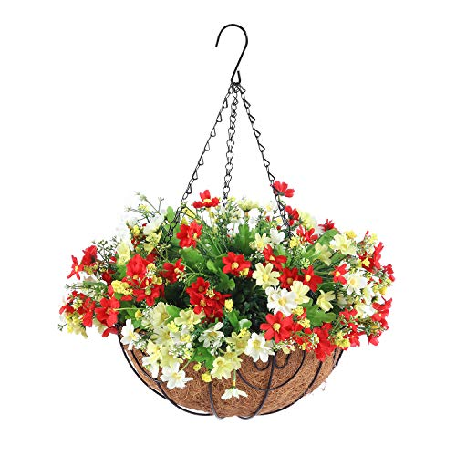 Homsunny Artificial Hanging Flowers with Basket, Fake Daisy Flowers in 12 inch Coconut Lining Hanging Baskets for The Decoration of Courtyard, Outdoors, and Indoors (White, Light red)