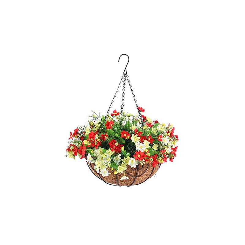 silk flower arrangements homsunny artificial hanging flowers with basket, fake daisy flowers in 12 inch coconut lining hanging baskets for the decoration of courtyard, outdoors, and indoors (white, light red)