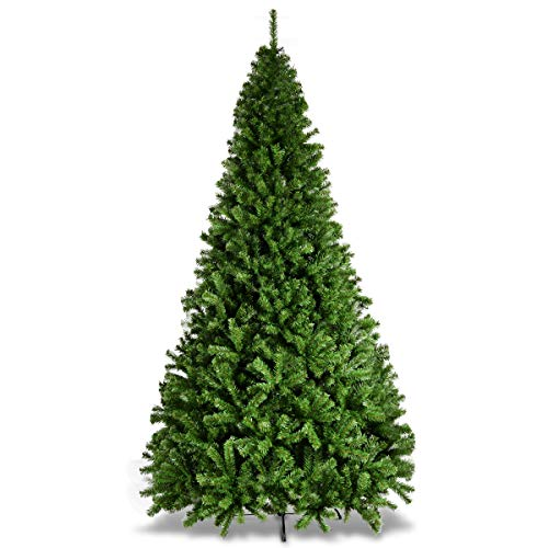 Goplus 9ft Artificial Christmas Tree Premium Hinged Spruce Full Tree with Solid Metal Stand, for Xmas Indoor and Outdoor Use