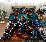 GSYHZL Marvel Avengers Funda de edredón y Funda de Almohada con patrón de impresión 3D,Juego de Ropa de Cama de para niños y Adolescentes,niños y niñas,Individual Doble King Queen-4_140x210(2pcs)