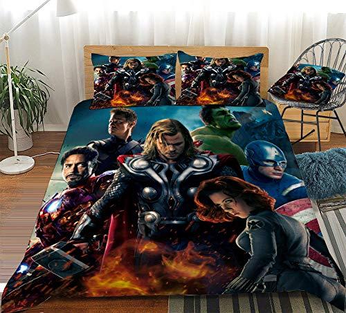 Funda nórdica American Hero, patrón Marvel Avengers impreso en 3D, juego de textiles para el hogar de tres piezas adecuado para la casa de huéspedes del dormitorio familiar-mi_180x210cm (3 piezas)