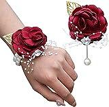 Milisente Pulsera corsé para novia para boda, flores y broches, juego de fiesta, baile de graduación, color rojo
