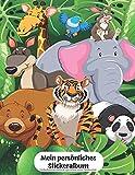 Mein persönliches Stickeralbum: Wildlife Wildtiere Dschungel Familie Tiger Elefant Bär Känguru Motiv | Din A4 Blanko | 35 Seiten Silikonfreies Papier | Geschenkidee