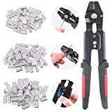 Glarks Up To 2.2mm Wire Rope Crimping Tool Wire Rope Swager Crimper Fishing Crimping Tool With 180Pcs 1.2/1.5/2mm Aluminum Double Barrel Ferrule Crimping Loop Sleeve Kit
