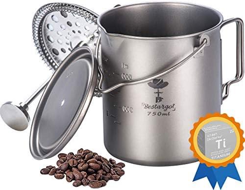 Bestargot Camping Coffee Cup 750ml Titanium Mug Outdoor French Press Pot Camp Cooking Pot Multi product image