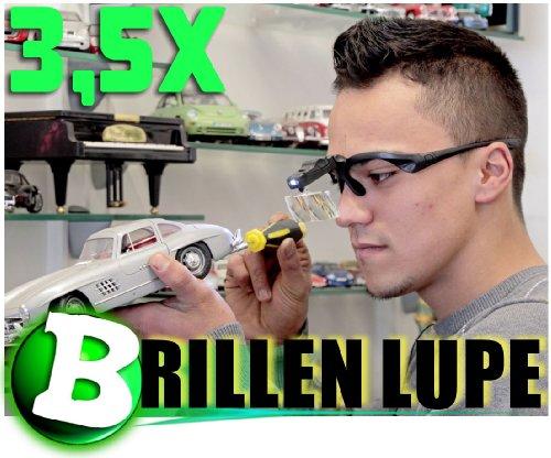 KaSul® * Brillen Lupe 9892B * bis 3,5 X Vergrößerung /2X LED / 5 Lupen/NEU/OVP