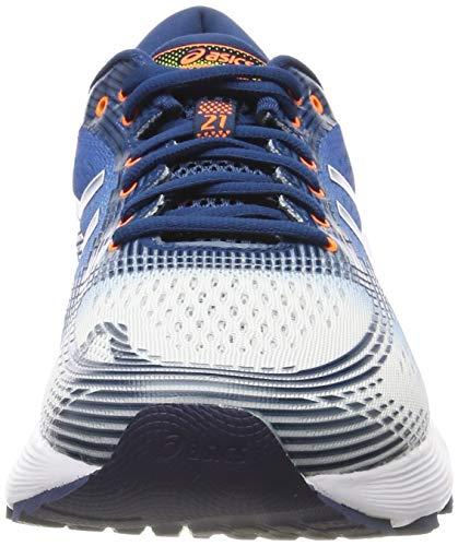 Asics Gel-Nimbus 21, Zapatillas de Running Hombre, Blanco (White/Lake Drive 100), 43.5 EU