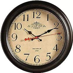 GOPG American Vintage Living Room Wall Clock Hanging Table Light Luxury Creative Fashion Nordic Bedroom Silent Metal Classic Clock Decorative Bell-16inch-black