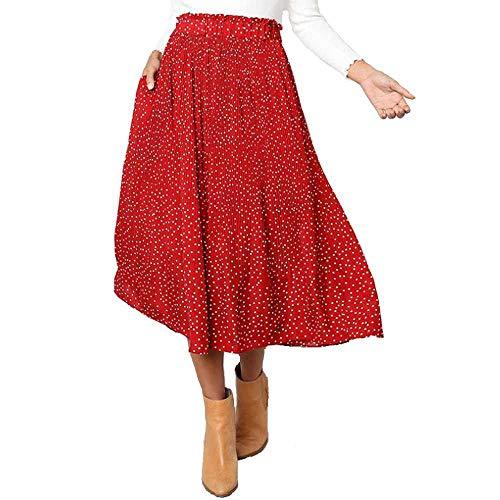 Punkte Blumendruck Plissee Midirock Mädchen Frauen Elastische Hohe Taille Seitentaschen Röcke Sommer Elegante Damen Weibliche Unterseite