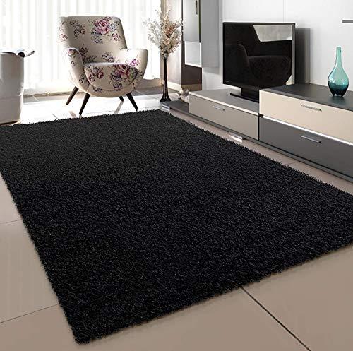 SANAT Teppich Wohnzimmer - Schwarz Hochflor Langflor Teppiche Modern, Größe: 80x150 cm