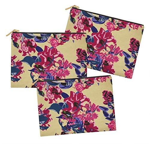 S4Sassy Beige feuille artistique & floral lot de 3 sacs à maquillage maquillage-6 x 8 pouces