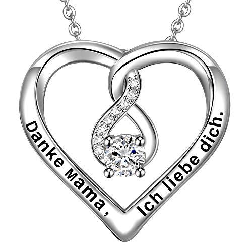 LOVORDS Damen Halskette Gravur 925 Sterling Silber Herz Unendlichkeits Kette Anhänger Mutter Geschenk für Mama