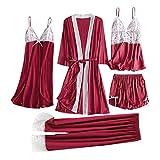 LoveLeiter 5PC Suit Nachtwäsche Damen Mode Dessous Unterwäsche Babydoll Nachtwäsche Kleid Rückenfrei Zweiteilige Nachthemd Schlafanzüge Negligee Wäsche Set Rückenfrei Schlafanzüge
