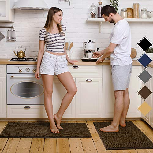 "Pretigo Kitchen Rug Sets - Rugs for Kitchen Floor Washable,Non-Slip Soft Chenille Kitchen Mat Set,Super Absorbent 17""×48"" + 17""×24"" (Brown)"
