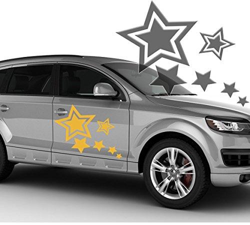 Autoaufkleber Autotattoo 6 Sterne Stars Silbergrau KLEIN