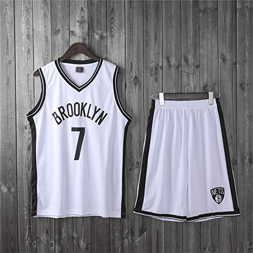 SHR-GCHAO Chicas para Niños Hombres Adultos NBA Brooklyn Nets # 7 Kevin Durant Basketball Jerseys Traje Top De Verano + Trajes Cortos, 100% Poliéster, No Fade,Blanco,2XL(Adult) 170~175CM