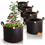 Amazy Sacchi per piante 40L set di 5 (Ø40cm, altezza 30cm) - Vasi in tessuto non tessuto per piantare - traspirante e resistente | sacchetti da coltivazione urbana di verdure e frutta