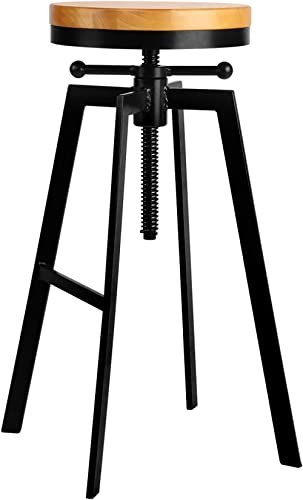 Artiss Bar Stool Adjustable Height Round Wooden Industrial Counter Bar Chairs for Home Kitchen Dining Room Office Com...