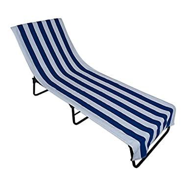 J&M Home Fashions Stripe Beach Lounge Chair Towel With Fitted Top Pocket (26x82 - Blue) Soft, Absorbent, and Fast Drying for covering Pool Chairs While Swimming, Lounging, or Tanning