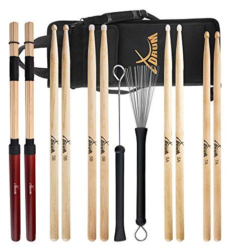 XDrum Drumstick Starter Set (Sticks, 5A Nylon, 5B Wood und Nylon, 7A Wood, Jazzbesen, Rods, inkl. Drumsticktasche)