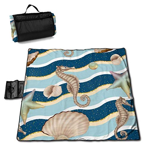 Suo Long Couverture de Pique-Nique Bubble Hippocampus Starfish Pearl Mussel Sea Picnic Mat Beach Cover