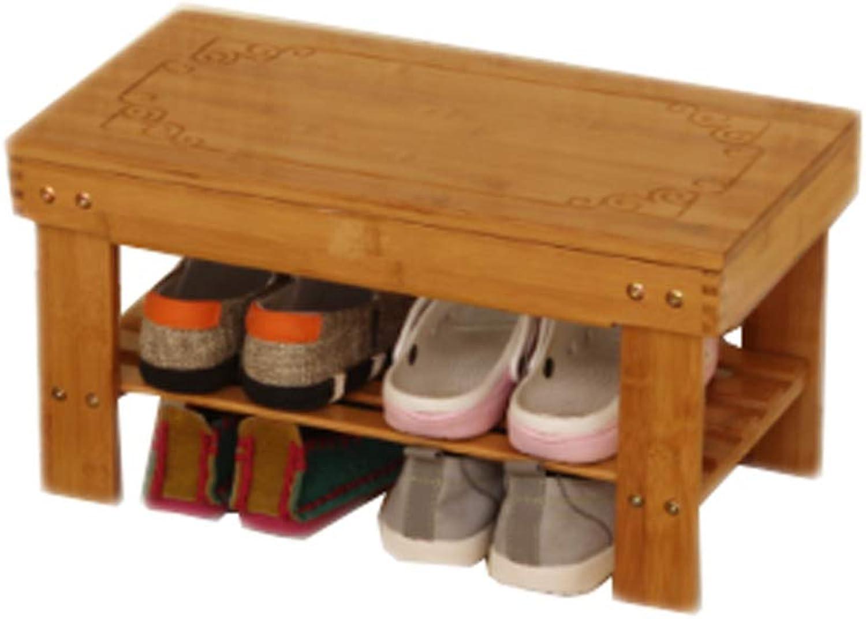 Two-Story shoes Bench Wooden Seat Storage Rack Sofa Door Rest Living Room Balcony Corridor 50cm27cm25cm MUMUJIN (Size   50CM)