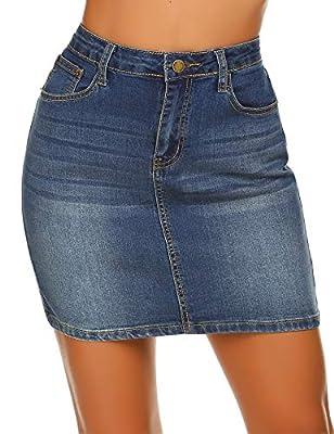 Women's Casual Stretch Short Denim Skirt, Dark Blue, Medium
