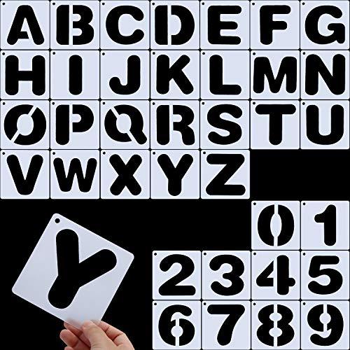 Briefschablonen, Alphabetvorlagen, Alphabet Schablonen Wiederverwendbare Kunststoff Kunst Handwerk Schablonen mit Zahlen (Stil B)