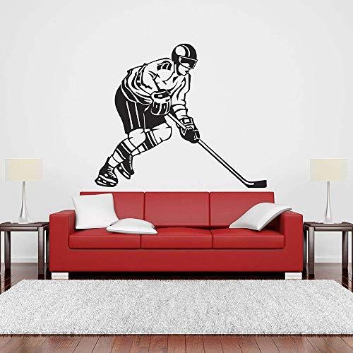 Jugador De Hockey Sobre Hielo Portero Calcomanía De Pared Skate Actividad Deportiva Niños Dormitorio Etiqueta De La Pared Vinilo Chica Niño Decoración De La Habitación Diseño 68X57Cm