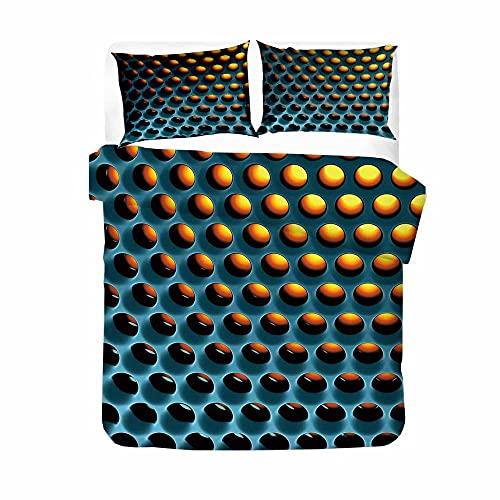 Juego De Funda De Edredón 200X200cm Se Utiliza para Ropa De Cama De Decoración De Dormitorio ( Nido De Abeja Azul, Amarillo) con 2 Fundas De Almohada 50X75 cm