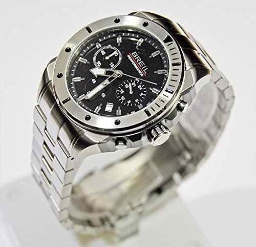 Breil TW1125 - Reloj de Cuarzo para Hombre con Esfera Negra y Correa de Acero Inoxidable Plateada