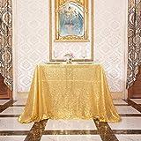 Eterna Beauty - Manteles de lentejuelas para bodas, Halloween, Navidad, fiesta de Navidad, Oro ámbar., 120x120 cm