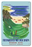 Pacifica Island Art Descubrir Francia en Tren-Costa Vasca-Ferrocarriles Franceses-Cartel del Viaje del Mundo del Vintage por Bernard Villemot c.1957-8inx12 Cartel de Chapa de la Vendimia