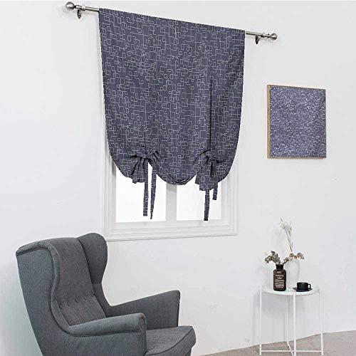 Cortinas geométricas para sala de estar, líneas conectadas con patrón cuadrado rectángulo entrelazado rayas romanas, púrpura gris y coco, 35 pulgadas x 64 pulgadas