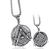 ELFASIO Freemason Symbol Masonic Necklace for Men Illuminati All Seeing Eye/Eye of Gold Both Sided Stainless Steel Pendant Jewelry 20'