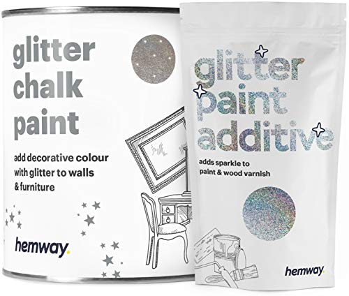 Hemway | Pintura de tiza con purpurina marrón coco - 1 litro / plata holográfica