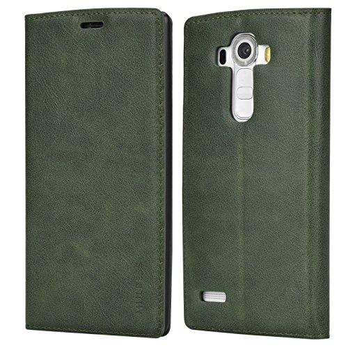 Mulbess Slim Handyhülle für LG G4 Hülle Leder, LG G4 Schutzhülle, LG G4 Klapphülle, Handytasche für LG G4 Tasche, Grün