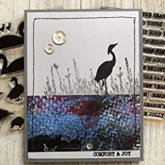 Nature Animal Birds Patterns Swan Crane Peaceful Faith Comfort Joy Transparent Silicone Clear Stamp for Card Making DIY Scrapbooking Handmade Paper Craft Photo Album Decor Embossing Stencil DIY Seal #3
