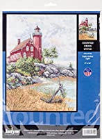 """Janlynn Counted Cross Stitch Kit 9""""X12""""-Eagle Harbor Lighthouse (14 Count)"""