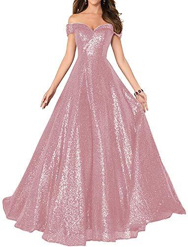 HUINI Damen Elegant Ballkleid Pailletten Lang Abendkleid für Hochzeit Standesamt Brautkleider Off-Schulter Promkleider Rosa 46