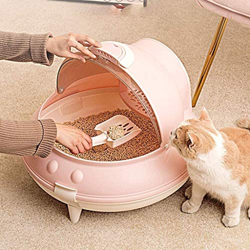 Pet Cleaning Litter Box, Fully Enclosed Litter Box, Automatic Cleaning Litter Box, Large Anti-Splash Deodorant Litter Box, cat Supplies-Best self-Cleaning Litter Box (Color : Pink)