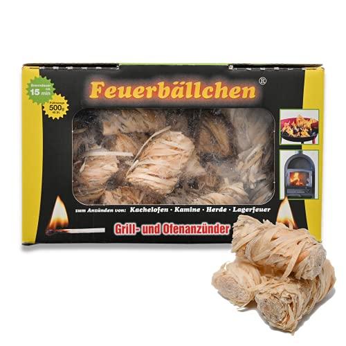 Feuerbällchen - das Original - zum Anzünden von Kachelofen, Kamin, Herd, Grill, Lagerfeuer - aus reinen Naturprodukten - unempfindlich gegen Nässe - Made in Germany - 0,5 kg Schachtel (ca. 40 Stück)