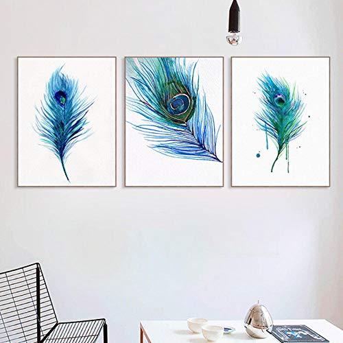 xwwnzdq Moderne schöne Blaue Pfauenfeder Poster Home Wandkunst Druck Leinwand Malerei Bild Dekoration kann kein Frame-3pcs_50x70cm Sein