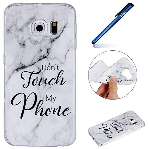 Ysimee Coque Samsung Galaxy S6 Edge Marbre, Silicone Souple Housse Etui de Protection pour Galaxy S6 Edge avec Motifs Phrase Imprimé Semi Hybrid Crystal Clear Case Mince Téléphone Couverture,Marbre #6