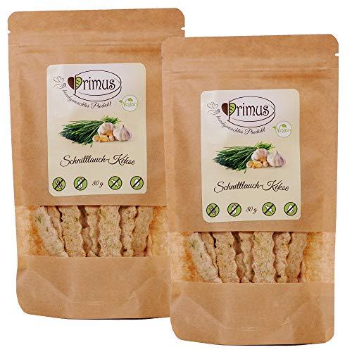 Primus Handgemachte Kekse mit Schnittlauch, 2x 80 g Doppelpack, herzhaftes Knabbergebäck mit würzig-frischer Schnittlauch-Note, glutenfrei und vegan