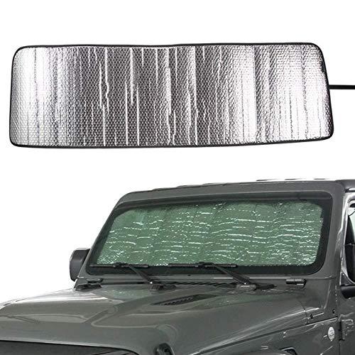 Parasol para Coche Parabrisas de automóviles Frente del Coche Shade Sun de la sombrilla de 2018 2019 Jeep Wrangler Sahara Rubicon JL JLU 2 Puerta 4 Puerta Parasol Mat Sombrilla (Color : Silver)